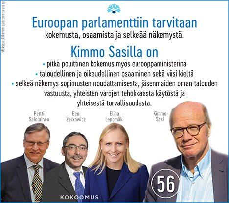 Kimmo Sasi, Elina Lepomäki, Ben Zyskowitcz ja Pertti Salolainen